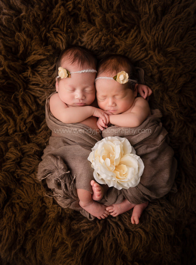 Fine art portrait of newborn twin girls.