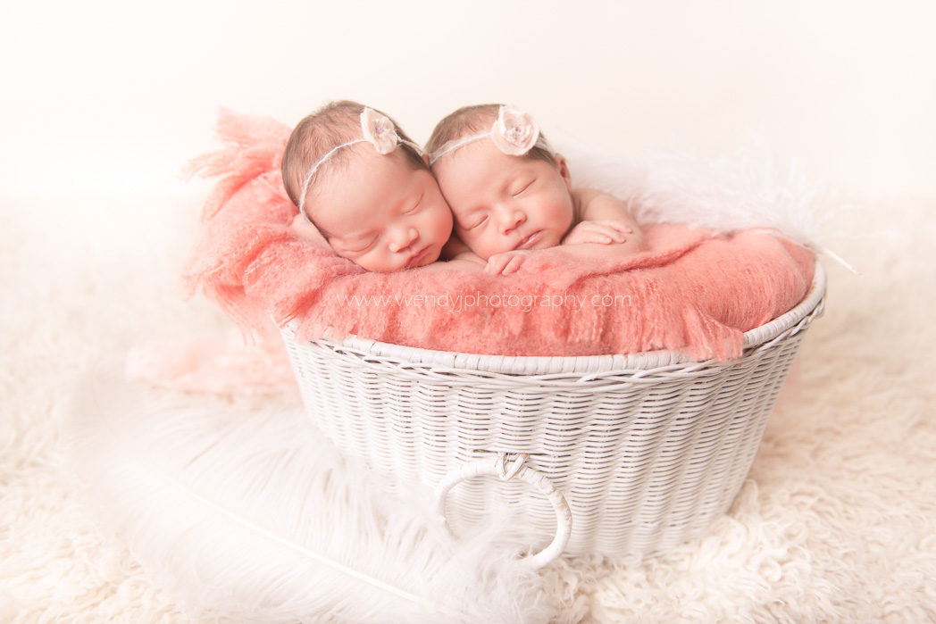 Newborn twins posed in white basket for portrait session.