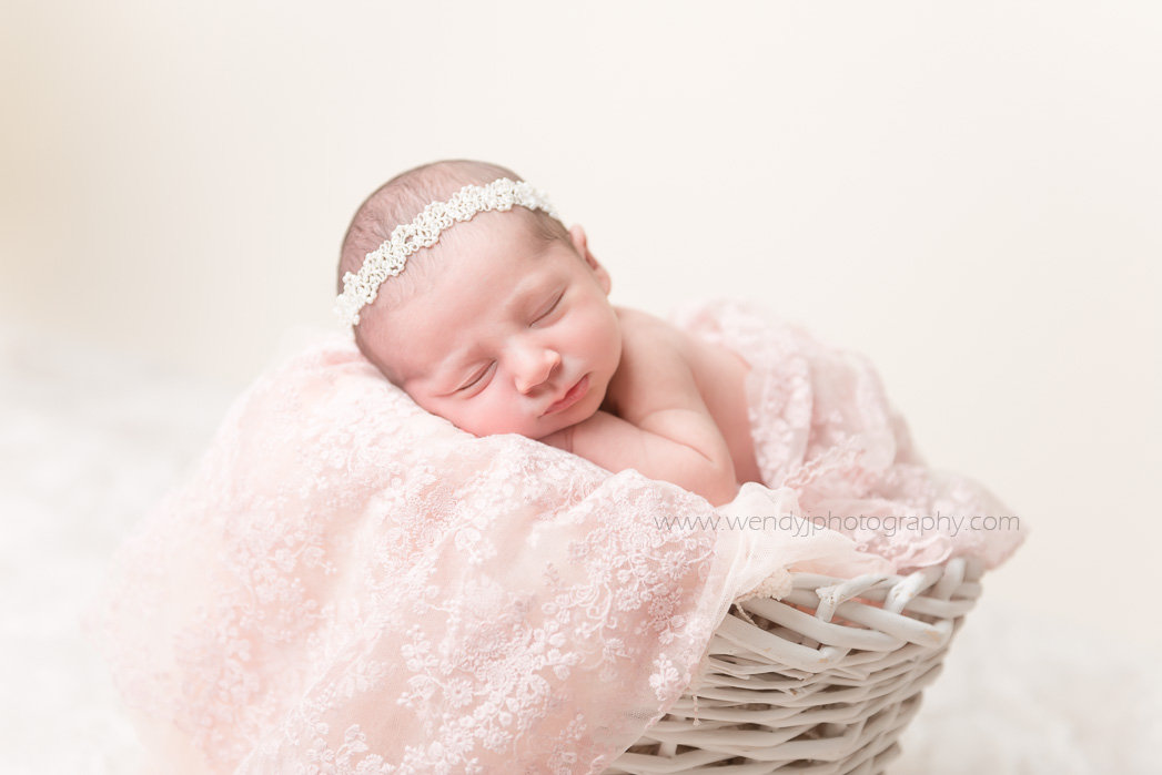 Fine art newborn baby photography portrait of a sleeping newborn baby girl by Vancouver B.C. baby photographer Wendy J Photography.